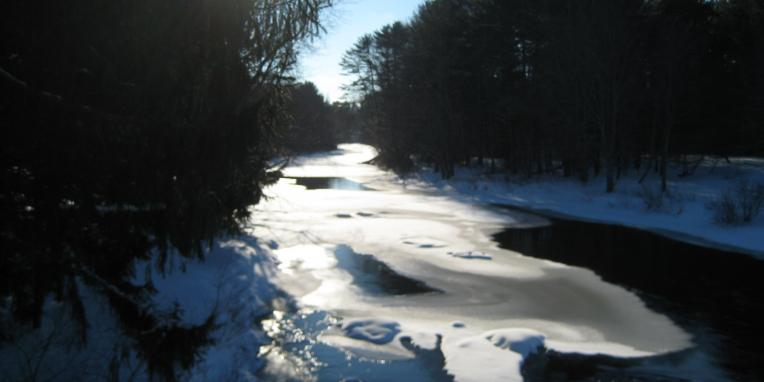Winter scene of river in Lee